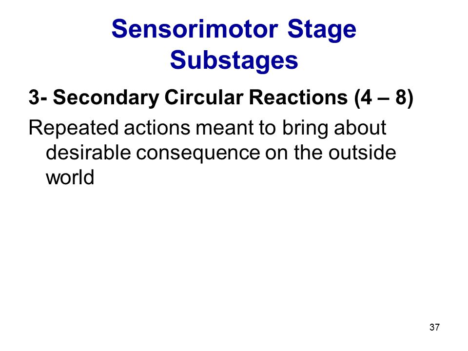 37 Sensorimotor Stage Substages 3- Secondary Circular Reactions (4 – 8) Repeated actions meant to bring about desirable consequence on the outside wor