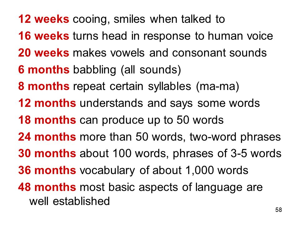 58 12 weeks cooing, smiles when talked to 16 weeks turns head in response to human voice 20 weeks makes vowels and consonant sounds 6 months babbling