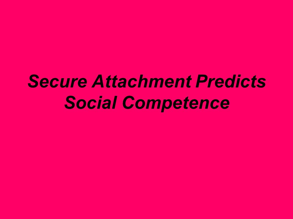 Secure Attachment Predicts Social Competence