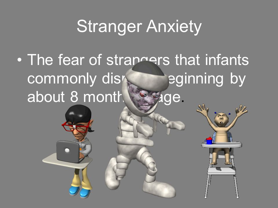 Stranger Anxiety The fear of strangers that infants commonly display, beginning by about 8 months of age.