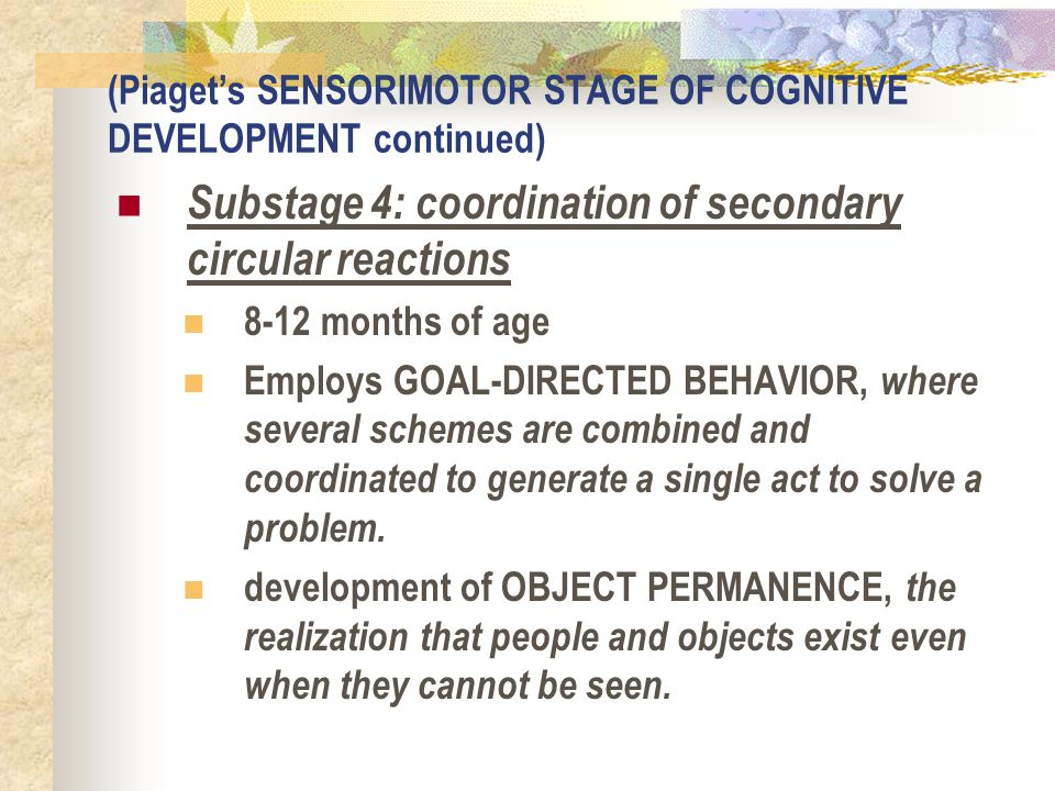 (Piaget's SENSORIMOTOR STAGE OF COGNITIVE DEVELOPMENT continued) Substage 4: coordination of secondary circular reactions 8-12 months of age Employs G