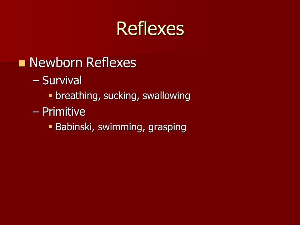 Reflexes Newborn Reflexes Newborn Reflexes –Survival  breathing, sucking, swallowing –Primitive  Babinski, swimming, grasping