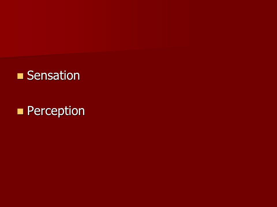 Sensation Sensation Perception Perception