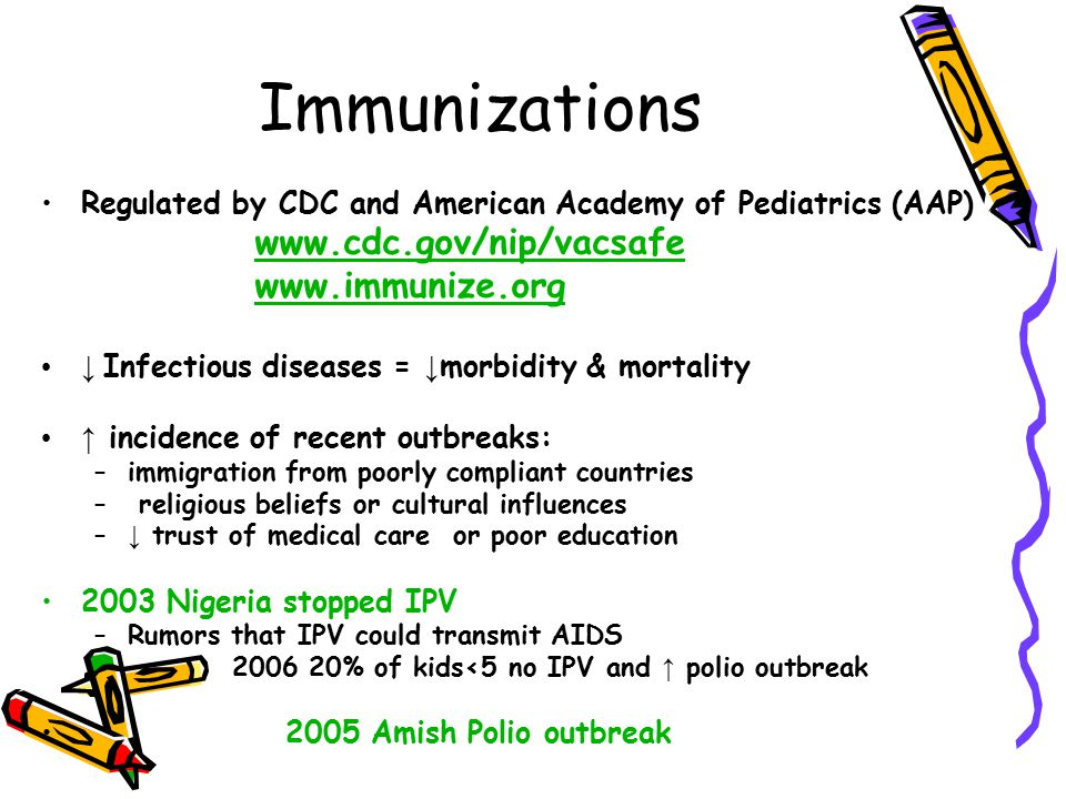 Immunizations Regulated by CDC and American Academy of Pediatrics (AAP) www.cdc.gov/nip/vacsafe www.immunize.org ↓ Infectious diseases = ↓ morbidity &