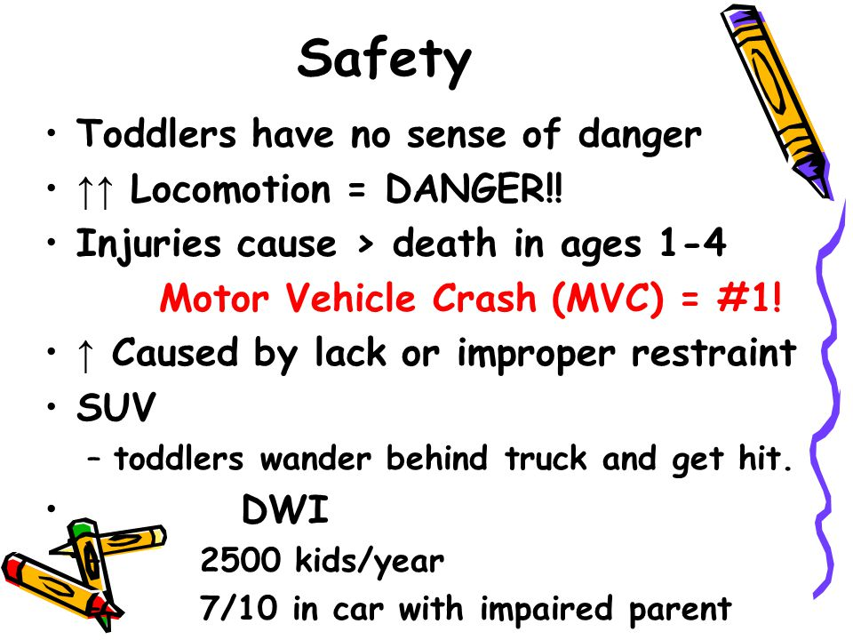 Safety Toddlers have no sense of danger ↑↑ Locomotion = DANGER!! Injuries cause > death in ages 1-4 Motor Vehicle Crash (MVC) = #1! ↑ Caused by lack o