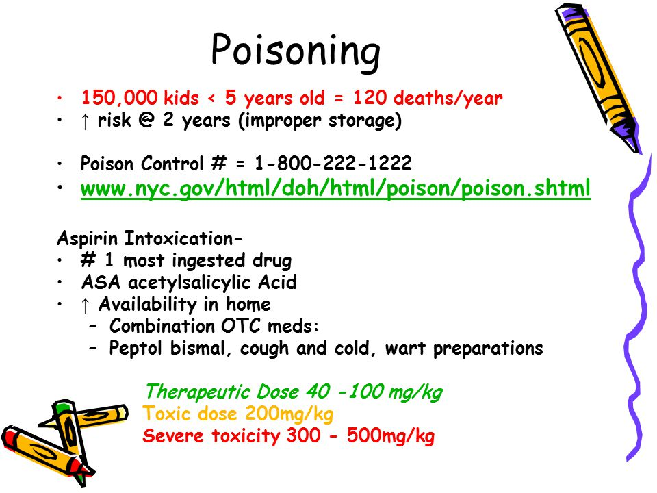 Poisoning 150,000 kids < 5 years old = 120 deaths/year ↑ risk @ 2 years (improper storage) Poison Control # = 1-800-222-1222 www.nyc.gov/html/doh/html