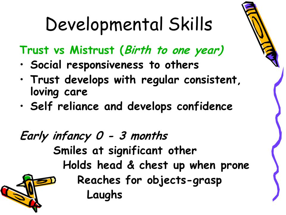 Developmental Skills Early Infancy 4-6 months Pulls self to sitting position Sits with support Rolls over = Safety issue –Tummy → back first at 2-3 months –Back → tummy by 6 months stronger head and arm control Transfers objects from hand to hand Makes vowel sounds oh-oh