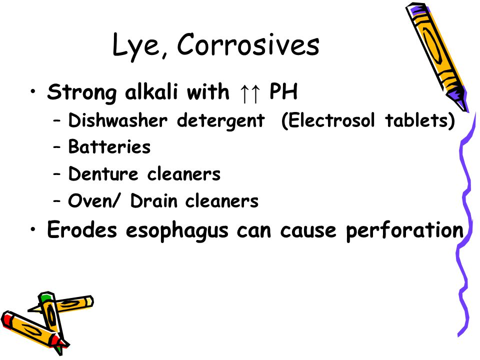 Lye, Corrosives Strong alkali with ↑↑ PH –Dishwasher detergent (Electrosol tablets) –Batteries –Denture cleaners –Oven/ Drain cleaners Erodes esophagu