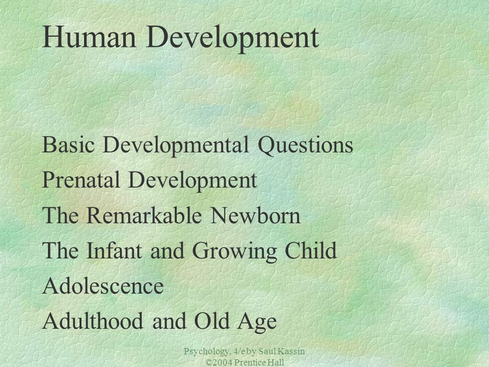 Psychology, 4/e by Saul Kassin ©2004 Prentice Hall Adulthood and Old Age Social and Personal Development Life Satisfaction §In multiple cultures, 75-80% say they are satisfied with life.