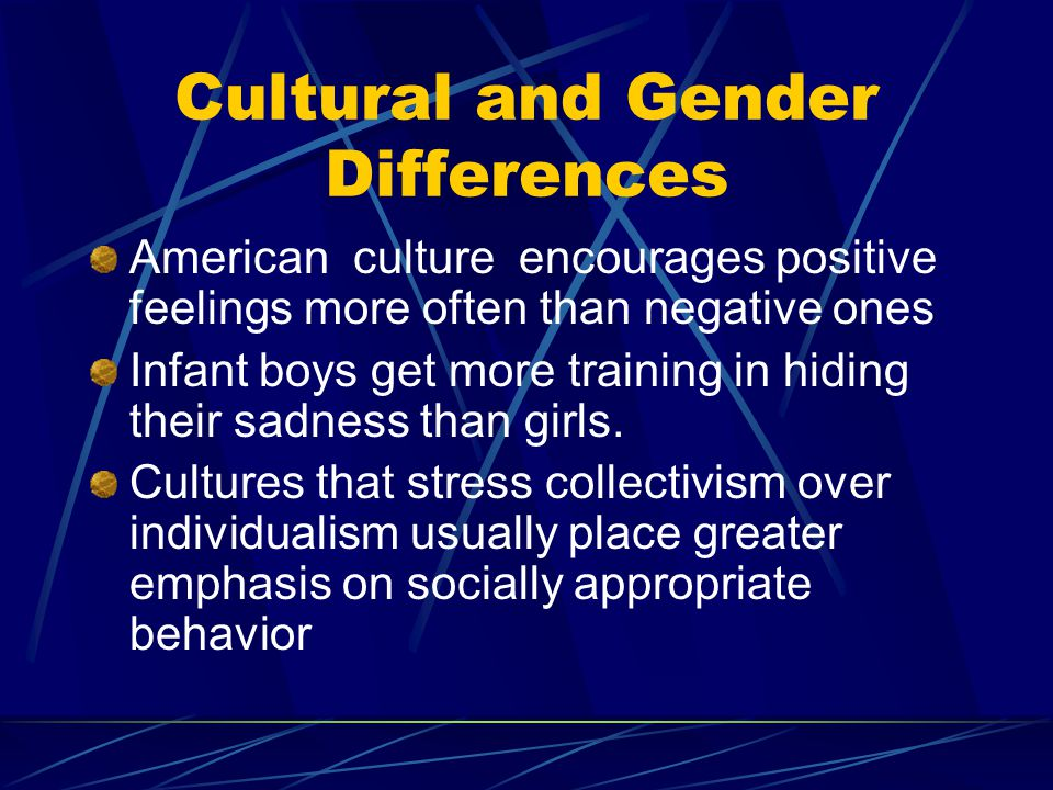Cultural and Gender Differences American culture encourages positive feelings more often than negative ones Infant boys get more training in hiding th