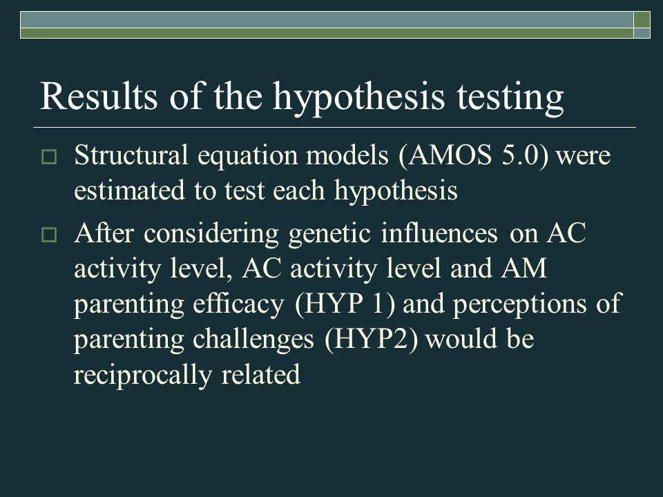 Results of the hypothesis testing  Structural equation models (AMOS 5.0) were estimated to test each hypothesis  After considering genetic influences on AC activity level, AC activity level and AM parenting efficacy (HYP 1) and perceptions of parenting challenges (HYP2) would be reciprocally related