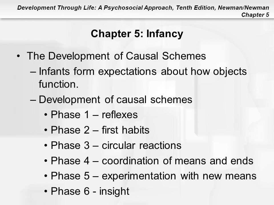 Development Through Life: A Psychosocial Approach, Tenth Edition, Newman/Newman Chapter 5 Chapter 5: Infancy The Development of Causal Schemes –Infant