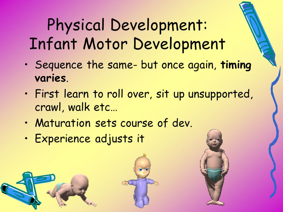Physical Development: Infant Motor Development Sequence the same- but once again, timing varies. First learn to roll over, sit up unsupported, crawl,