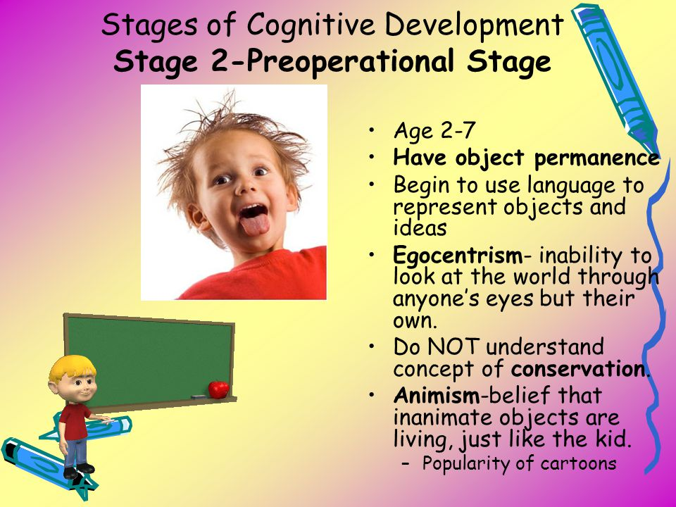 Stages of Cognitive Development Stage 2-Preoperational Stage Age 2-7 Have object permanence Begin to use language to represent objects and ideas Egoce
