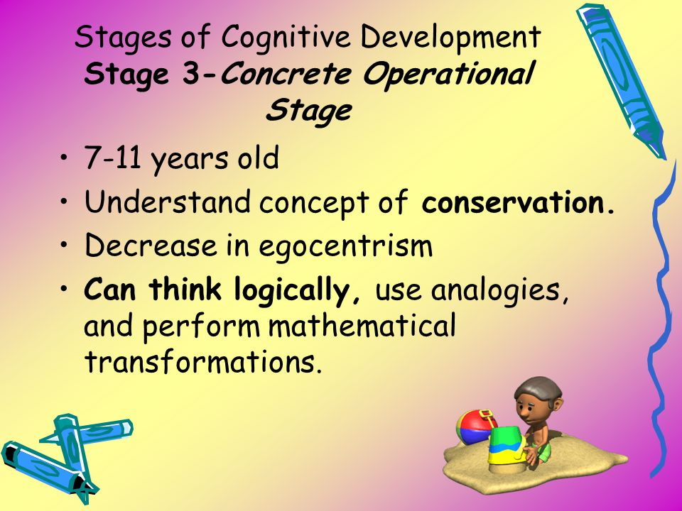 Stages of Cognitive Development Stage 3-Concrete Operational Stage 7-11 years old Understand concept of conservation. Decrease in egocentrism Can thin
