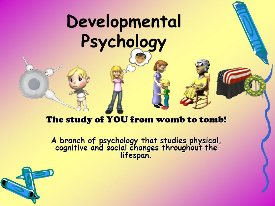 Developmental Psychology The study of YOU from womb to tomb! A branch of psychology that studies physical, cognitive and social changes throughout the