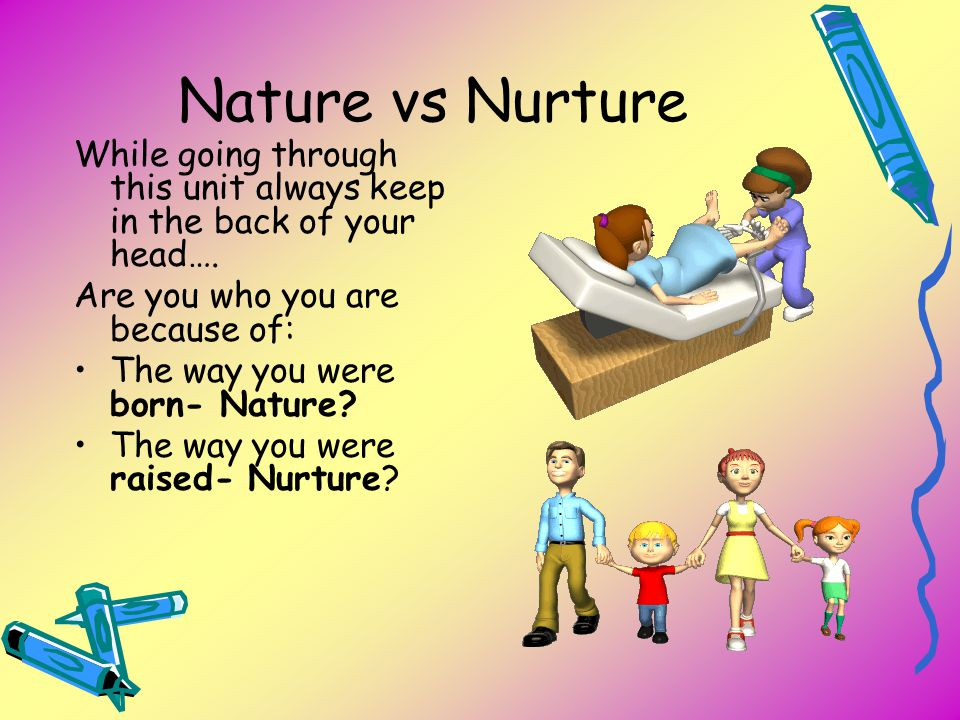 Nature vs Nurture While going through this unit always keep in the back of your head…. Are you who you are because of: The way you were born- Nature?