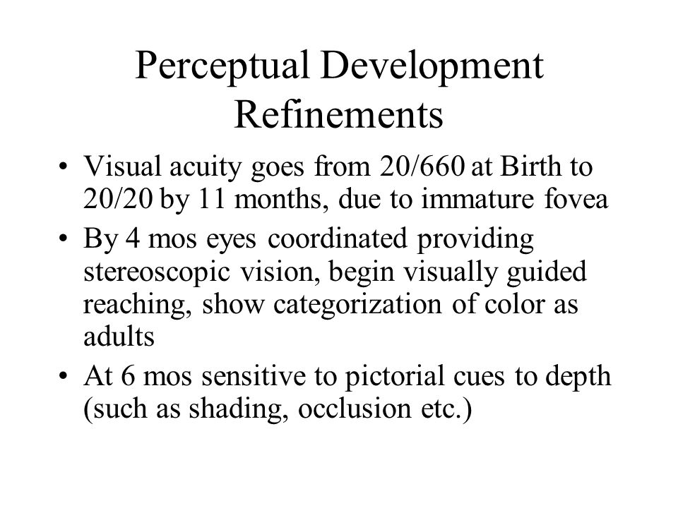 Perceptual Development Refinements Visual acuity goes from 20/660 at Birth to 20/20 by 11 months, due to immature fovea By 4 mos eyes coordinated prov