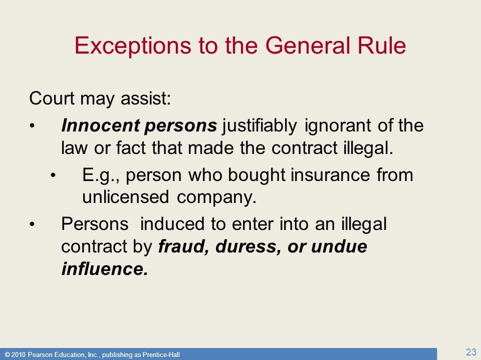© 2010 Pearson Education, Inc., publishing as Prentice-Hall 23 Exceptions to the General Rule Court may assist: Innocent persons justifiably ignorant