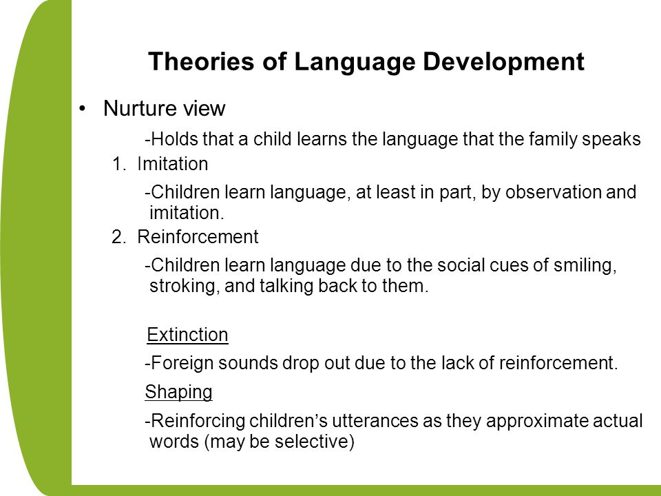 Theories of Language Development Nurture view -Holds that a child learns the language that the family speaks 1. Imitation -Children learn language, at