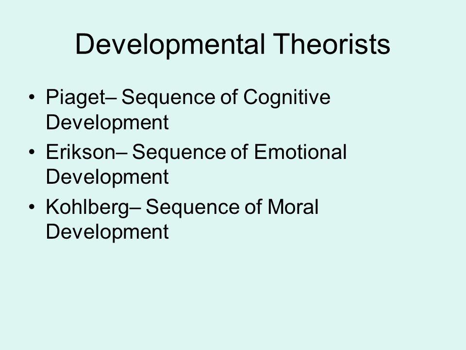 Developmental Theorists Piaget– Sequence of Cognitive Development Erikson– Sequence of Emotional Development Kohlberg– Sequence of Moral Development