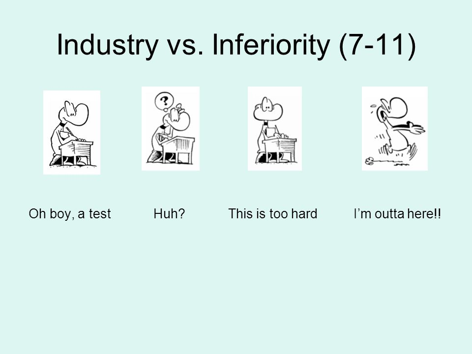 Industry vs. Inferiority (7-11) Oh boy, a test Huh? This is too hard I'm outta here!!
