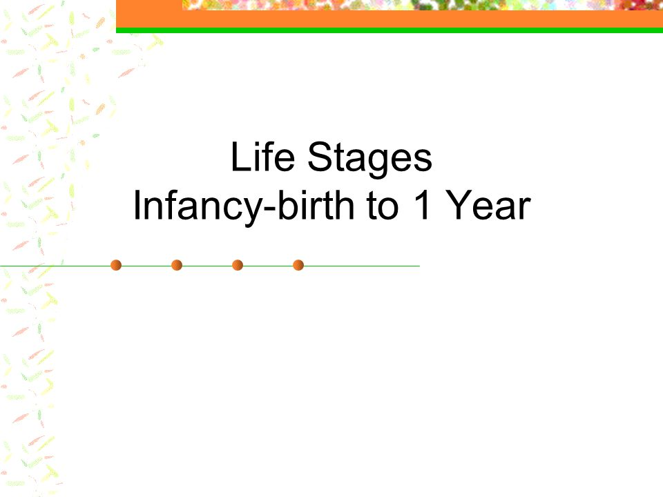 Life Stages Infancy-birth to 1 Year