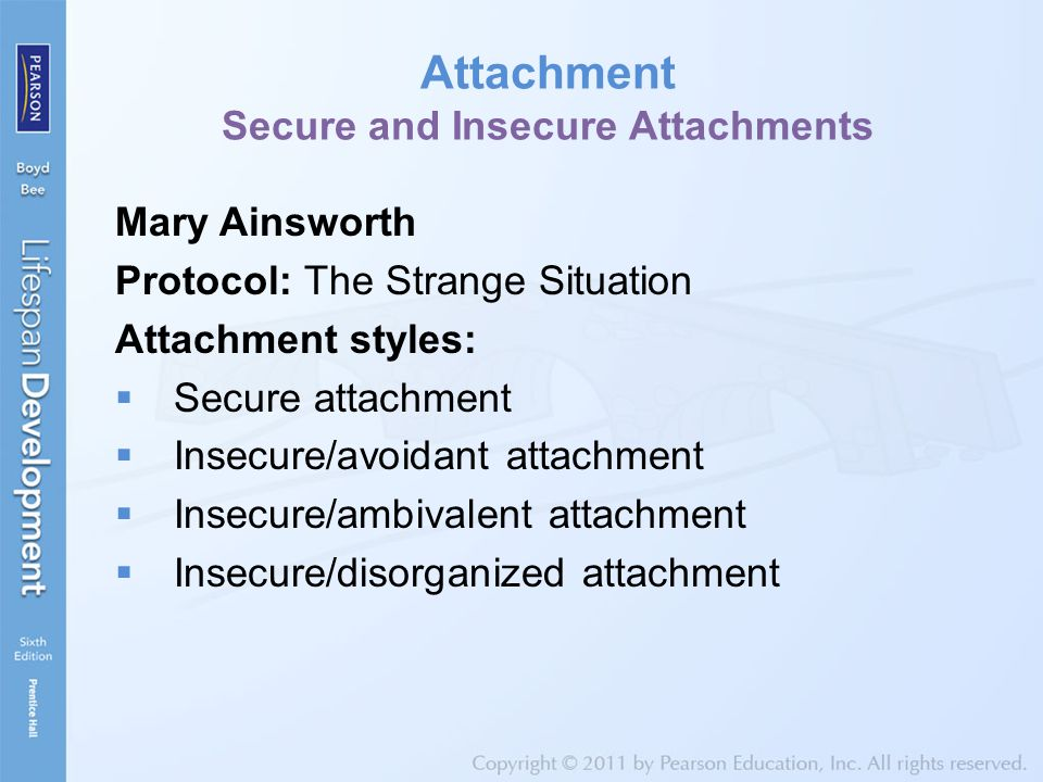 Attachment Secure and Insecure Attachments Mary Ainsworth Protocol: The Strange Situation Attachment styles:  Secure attachment  Insecure/avoidant attachment  Insecure/ambivalent attachment  Insecure/disorganized attachment