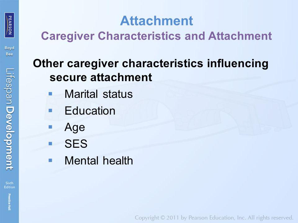 Attachment Caregiver Characteristics and Attachment Other caregiver characteristics influencing secure attachment  Marital status  Education  Age  SES  Mental health
