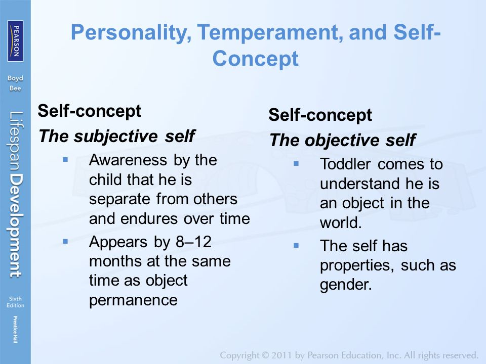 Personality, Temperament, and Self- Concept Self-concept The subjective self  Awareness by the child that he is separate from others and endures over time  Appears by 8–12 months at the same time as object permanence Self-concept The objective self  Toddler comes to understand he is an object in the world.