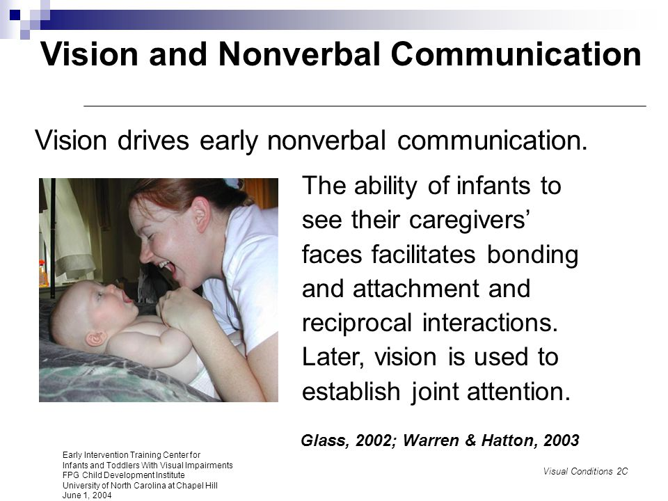 Vision as an Integrating Sense Enables infants to learn about people, objects, and events; encourages play behaviors, visual imitation of skills, and