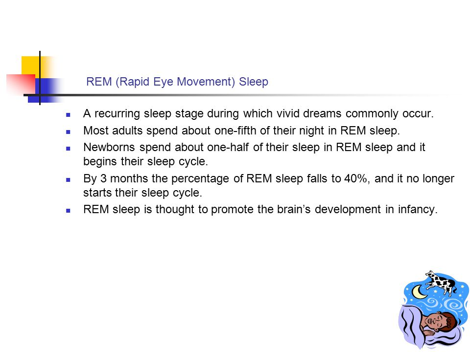 REM (Rapid Eye Movement) Sleep A recurring sleep stage during which vivid dreams commonly occur. Most adults spend about one-fifth of their night in R