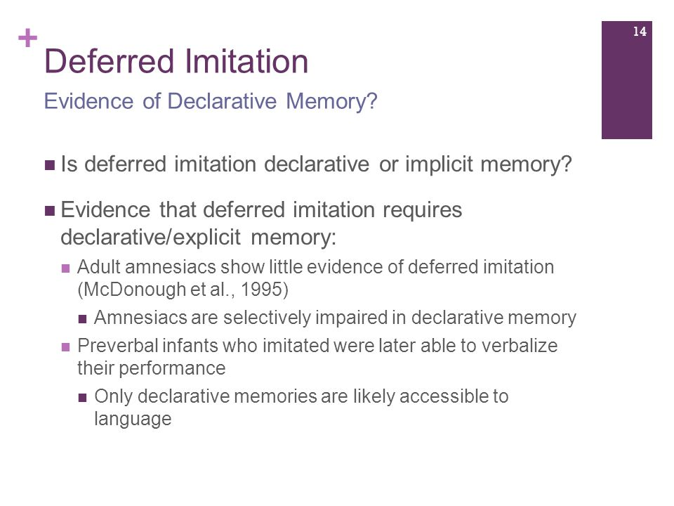 + Deferred Imitation Is deferred imitation declarative or implicit memory.