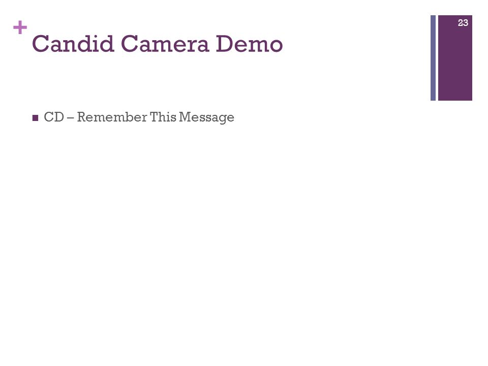 + Candid Camera Demo CD – Remember This Message 23
