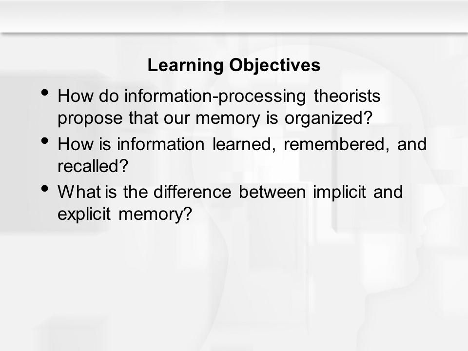 The Child – Explaining Memory Development During childhood, there are improvements in metacognition –Knowledge of the human mind and of the range of cognitive processes Children with greater metamemory awareness demonstrate better memory ability –Knowledge of memory and understanding how to monitor and regulate memory processes