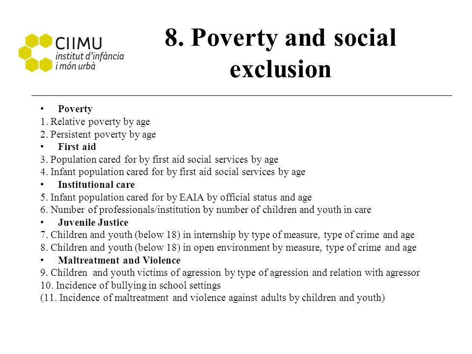 8. Poverty and social exclusion Poverty 1. Relative poverty by age 2. Persistent poverty by age First aid 3. Population cared for by first aid social