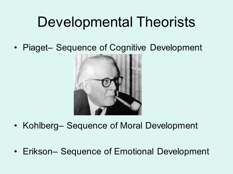 Developmental Theorists Piaget– Sequence of Cognitive Development Kohlberg– Sequence of Moral Development Erikson– Sequence of Emotional Development