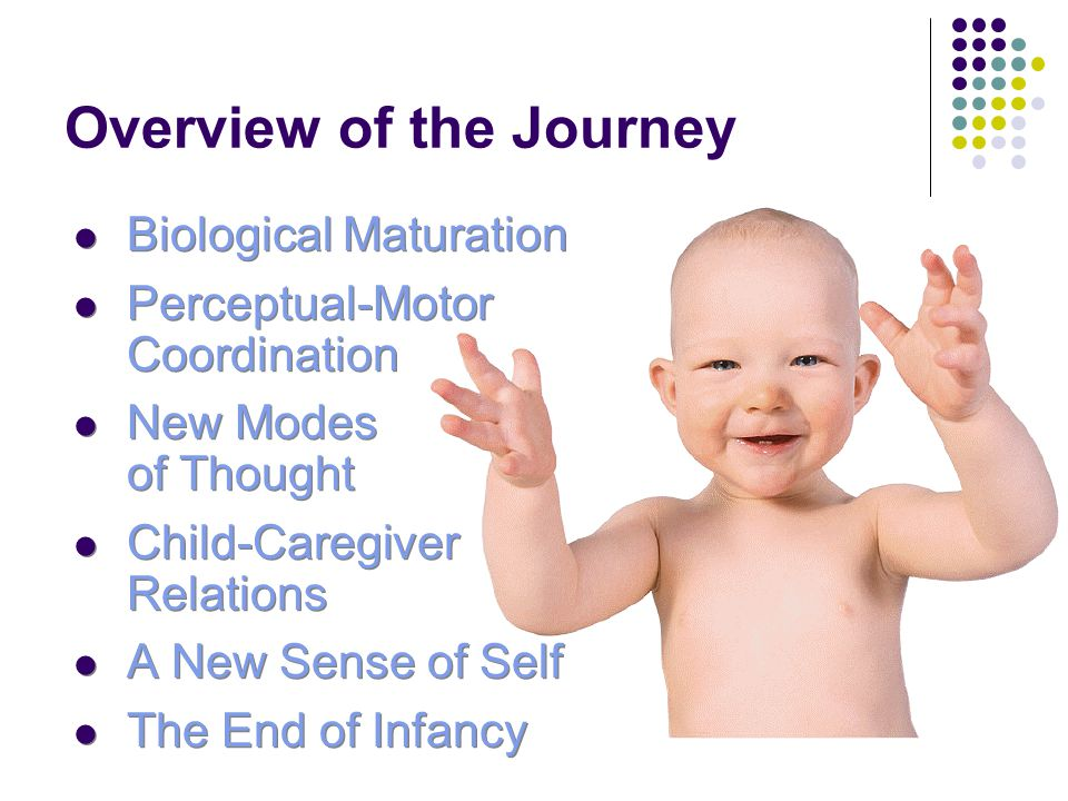 Overview of the Journey Biological Maturation Perceptual-Motor Coordination New Modes of Thought Child-Caregiver Relations A New Sense of Self The End of Infancy Biological Maturation Perceptual-Motor Coordination New Modes of Thought Child-Caregiver Relations A New Sense of Self The End of Infancy