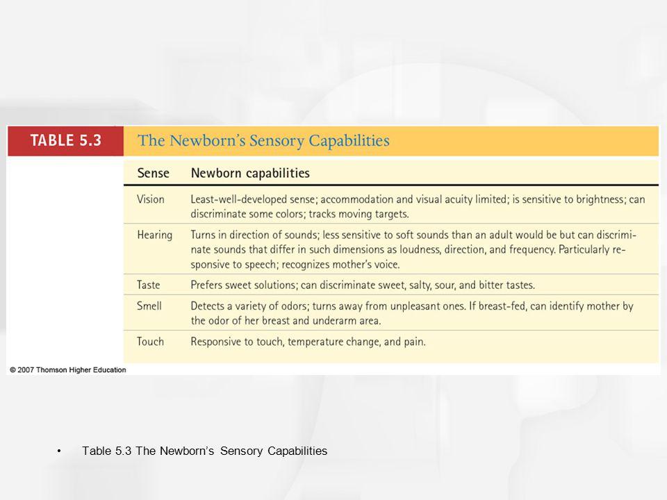 Table 5.3 The Newborn's Sensory Capabilities