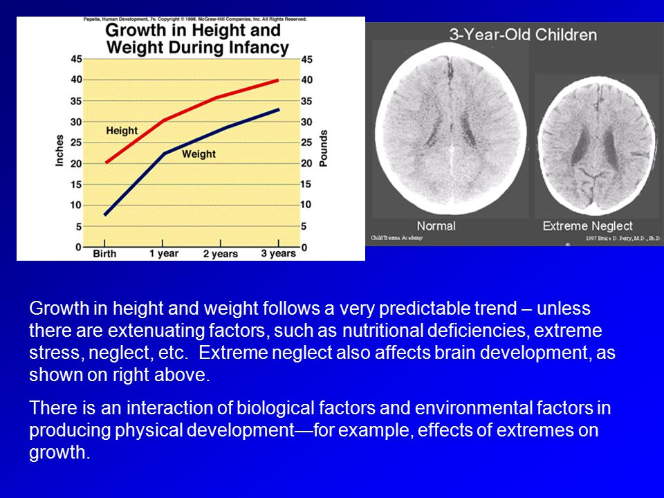 Growth in height and weight follows a very predictable trend – unless there are extenuating factors, such as nutritional deficiencies, extreme stress,