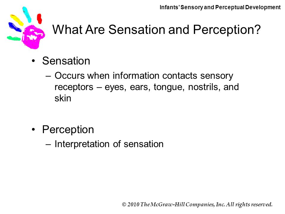 © 2010 The McGraw-Hill Companies, Inc. All rights reserved. What Are Sensation and Perception? Sensation –Occurs when information contacts sensory rec