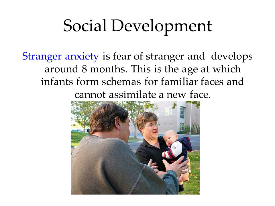 Social Development Stranger anxiety is fear of stranger and develops around 8 months.