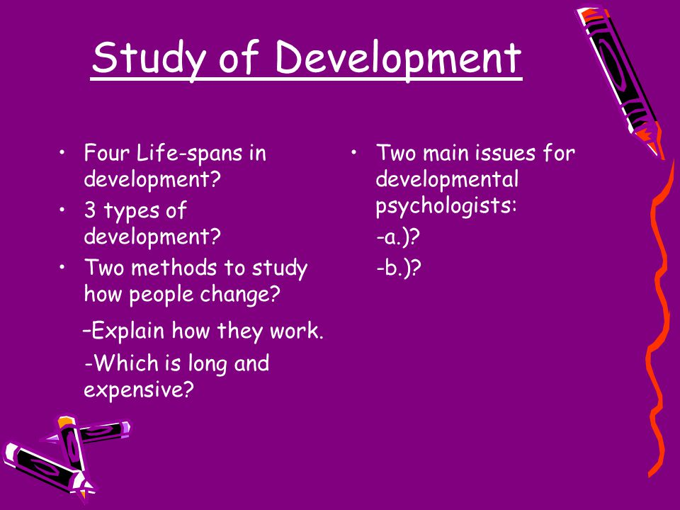 Study of Development Four Life-spans in development.