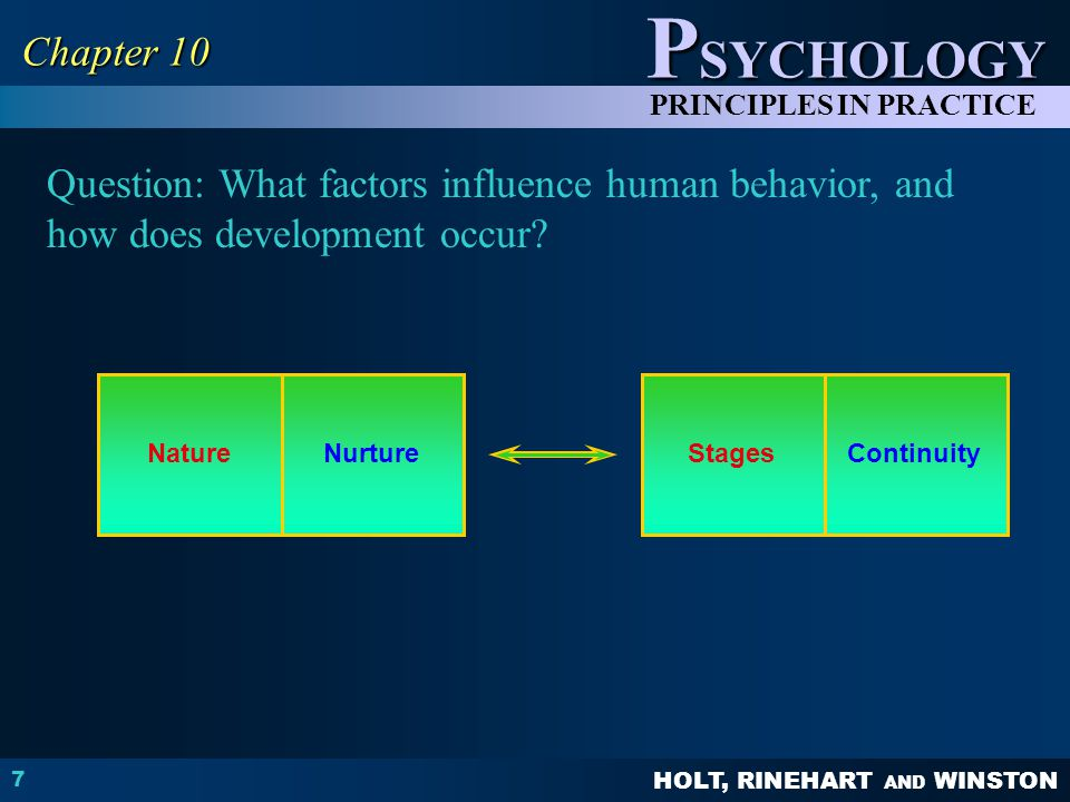 HOLT, RINEHART AND WINSTON P SYCHOLOGY PRINCIPLES IN PRACTICE 7 Chapter 10 Question: What factors influence human behavior, and how does development o