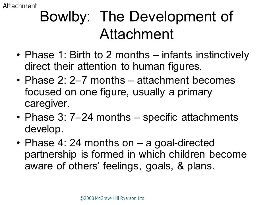 Bowlby: The Development of Attachment Phase 1: Birth to 2 months – infants instinctively direct their attention to human figures.
