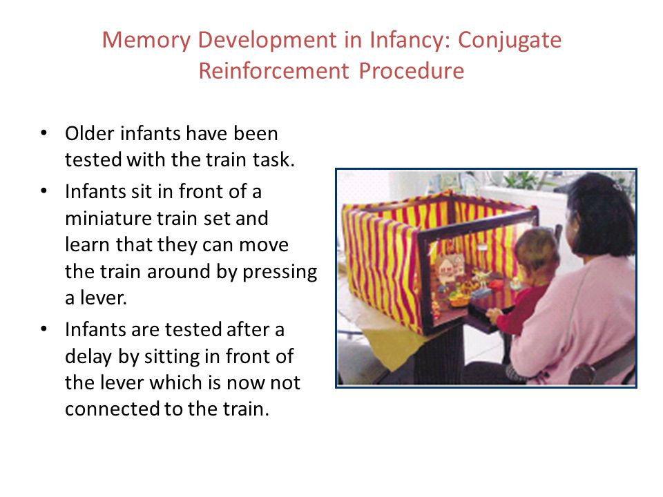 Older infants have been tested with the train task. Infants sit in front of a miniature train set and learn that they can move the train around by pre