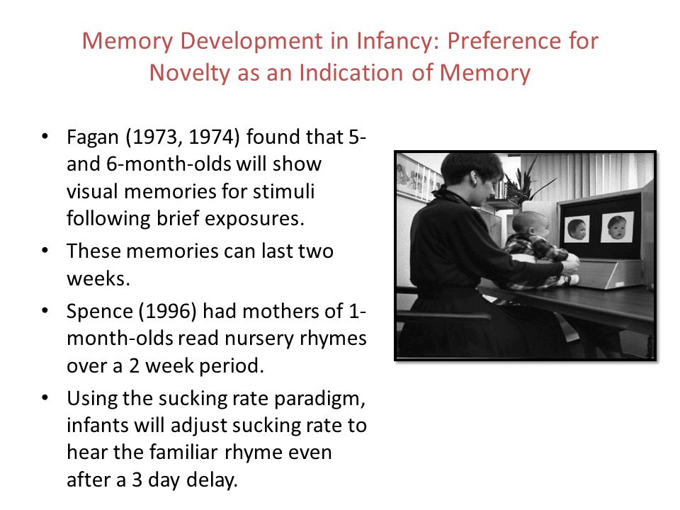 Memory Development in Infancy: Preference for Novelty as an Indication of Memory Fagan (1973, 1974) found that 5- and 6-month-olds will show visual me