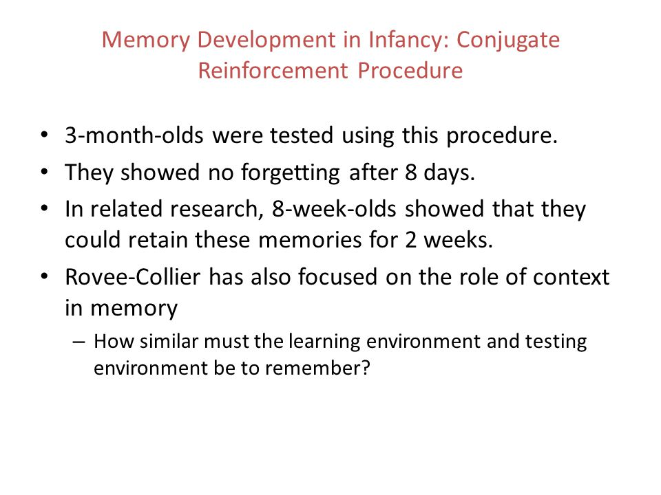 The Development of Event Memory Event memory is constructive in nature.