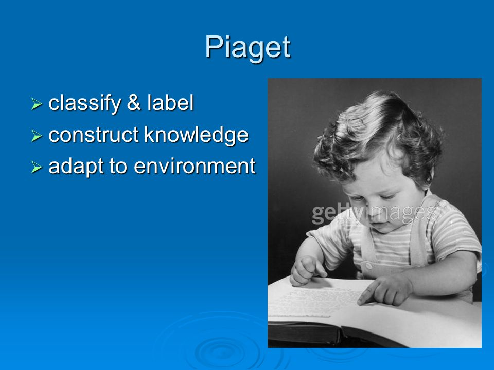 Piaget  classify & label  construct knowledge  adapt to environment