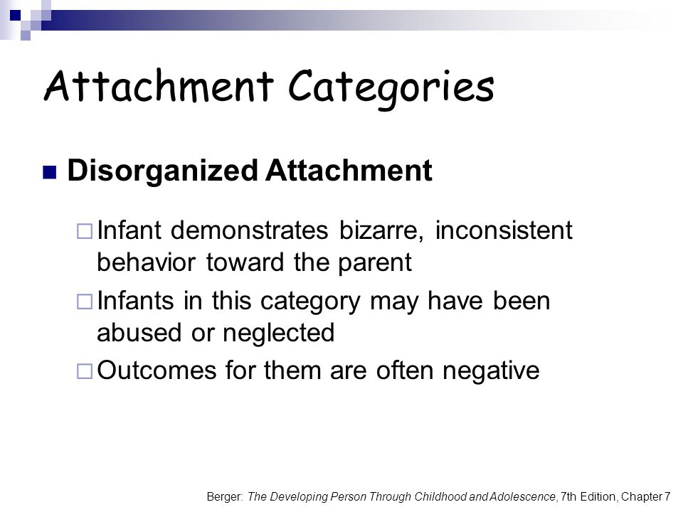 Berger: The Developing Person Through Childhood and Adolescence, 7th Edition, Chapter 7 Attachment Categories Disorganized Attachment  Infant demonstrates bizarre, inconsistent behavior toward the parent  Infants in this category may have been abused or neglected  Outcomes for them are often negative